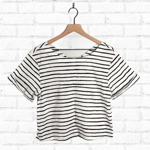 J.Crew Factory White Striped Blouse